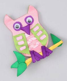 Take a look at this Pink & Purple Owl Clip by Couture Hair Bows on #zulily today!