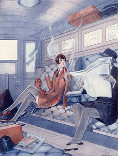 The Girl on the Train ~ Illustration for La Vie Parisienne by Jacques Leclerc c.1926