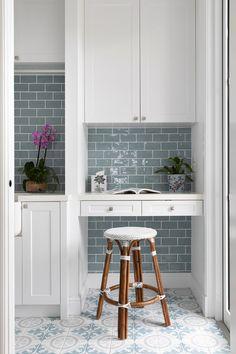 Built-in desk in butler's pantry with duck blue tiles. Blue Kitchen Tiles, Blue Tiles, Hamptons Style Homes, Kitchen Desks, Kitchen Room Design, Built In Desk, French Oak, Butler Pantry, Waterfront Homes
