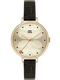 Click to enlarge  Click to enlarge Orla Kiely Ivy Gold Plated Black Strap Watch OK2032
