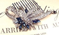 Wedding Hair Comb Something Blue, Sapphire & Clear Rhinestone Bridal Great Gatsby Art Deco Silver Brooch 1920s Accessory Navy Blue Headpiece by AmoreTreasure on Etsy https://www.etsy.com/listing/216543870/wedding-hair-comb-something-blue