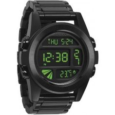 Nixon is all about creating quality, precision based products, and The Unit SS all black digital watch is no exception. The black brushed stainless steel will give you an effortlessly classy look, while the green negative and positive high contrast digita Vintage Watches For Men, Watches Online, Sport Watches, Casio Watch, Digital Watch, All Black, Smart Watch, The Unit, Nixon Watches