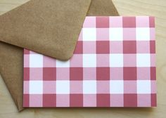 Pink Gingham Card: I would use these as invitations to a summer bbq.