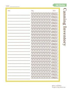 Printable Canning Inventory List- track how many jars you have of everything!