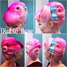 Victory Rolls with Pony Tail   Diablo Rose Pink Hair Victory Rolls Pin Up Rockabilly Lilac Ponytail ...