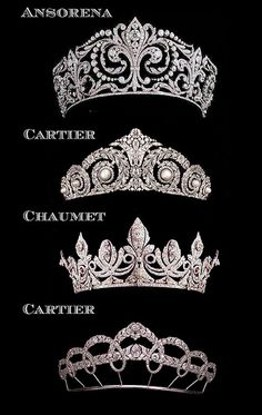 Types of tiaras, for every outfit! This made me think of you when you used to wear tiaras. Royal Crowns, Royal Tiaras, Tiaras And Crowns, Royal Crown Jewels, Royal Jewelry, Jewelry Box, Jewelery, Jewelry Accessories, Bridal Accessories