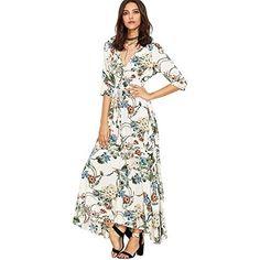 fd67b8546c8f Amazon.com  Hestenve Womens Long Sleeve Floral Maxi Dress Chiffon Printed  Sexy Summer Dresses Plus Size  Clothing