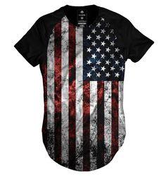 Camiseta long line Raglan oversized baseball bandeira estados unidos  Camisetas Criativas 07f3d12de83