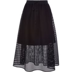 Clover Canyon Black Square Mesh Skirt (350 CAD) ❤ liked on Polyvore featuring skirts, high waisted pleated skirt, a line slip, pleated skirt, black slip and see through skirt