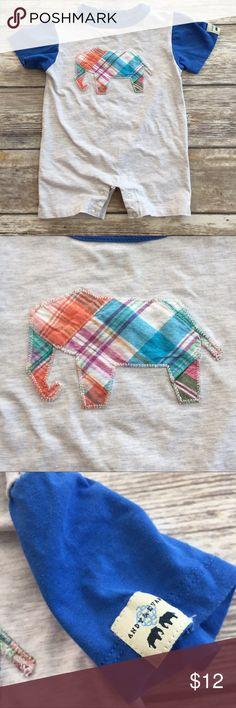 Andy and Evan Elephant Romper Plaid Appliqué elephant Romper. Snaps at ride assist changes. EUC. Size 6-12m Andy & Evan One Pieces