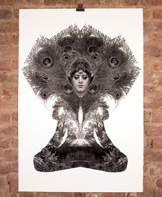 Night's Dream By Dan Hillier: Category: Art Currency: GBP Price: Retail Price: 'Night's Dream' encompasses a Buddha like… Dan Hillier, Feather Crown, Peacock Feathers, The Duff, Online Gallery, Gold Leaf, Cool Art, Graffiti, Contemporary Art