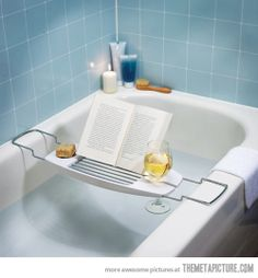 Make the most of your bath with this luxury bathtub caddy. This bathtub caddy features a built in book stand with a convenient reading angle, a spot for your wine glass and a self-draining soap dish. Taking a bath has never been so relaxing. Bathtub Caddy, Bathroom Caddy, Bathtub Table, Shops, In Vino Veritas, My Dream Home, Dream Life, Future House, Things I Want