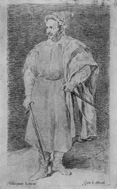 Goya y Lucientes, Francisco de: dibujos de Velázquez: Retrato de bufones Barbarroja
