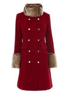 Karen Millen Moleskin coat with fur trim Red - House of Fraser