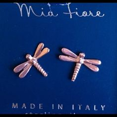 ✨MIA FIORE EARRINGS✨ Brand new in box!  Super cute, rose gold over sterling silver dragonfly studs. Mia Fiore Jewelry Earrings