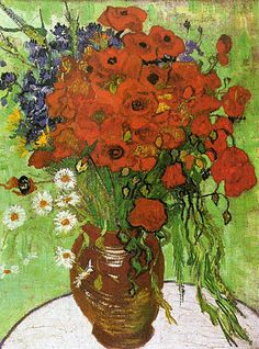 Red Poppies and Daisies, Vincent Van Gogh. 罌粟 & 雛菊