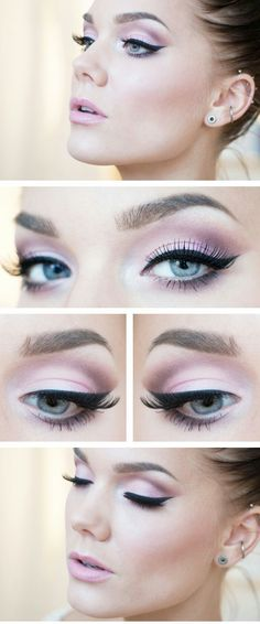 Bridal makeup inspiration - pink eyeshadow - black winged eyeliner & pale pink lip..... See more on my makeup blog!