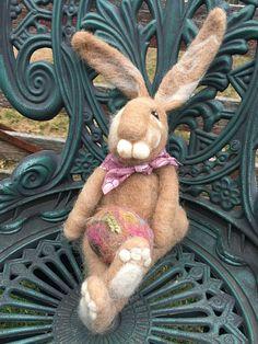 Needle Felted Bunny Rabbit Tan Bunny Felted Rabbit Felted