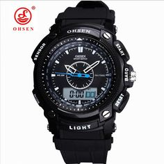 Ohsen Men Watch Worldwide Digital LCD Day Alarm Mens Military Sport Rubber Watch Black Waterproof Men Watch Men's Fashion //Price: $20.49 & FREE Shipping //     #hashtag2