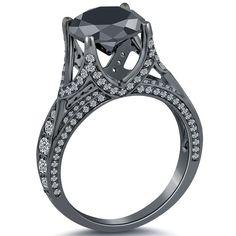 5.09 Carat Black Diamond Engagement Ring 18k Black Gold ~ Watch LIVE Video ~ NEW #LioridiamondsTM #BDR247