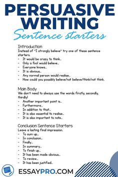 Useful and simple essay writing tips and tricks. Check out our website for more essay writing tips, essay hacks, and essay examples, as well as help with your essays, papers and any other assignments. Essay Writing Skills, Book Writing Tips, Persuasive Essays, English Writing Skills, Persuasive Writing, Writing Words, Academic Writing, Teaching Writing, Essay Writer