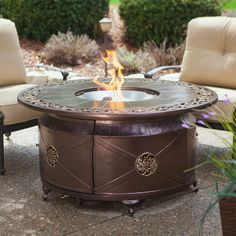 Red Ember Richland 48 in. Round Propane Fire Pit Table with Decorative Scroll - Fire Pits at Hayneedle Outdoor Fire Pit Table, Gas Fire Pit Table, Fire Pit Backyard, Outdoor Living, Outdoor Seating, Outdoor Spaces, Backyard Camping, Outdoor Life, Round Propane Fire Pit