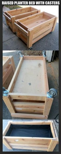 Raised garden planter boxes on wheels / casters - Size is 2 x 4 each, just over 4 tall with the casters installed on the bottom. Soil depth container is 12 and the bottom shelf has about 3 of clearance to hold drain water trays. - Decor It Darling Raised Garden Planters, Raised Planter Boxes, Planter Beds, Garden Planter Boxes, Building Raised Garden Beds, Raised Beds, Diy Garden Projects, Outdoor Projects, Potager Palettes