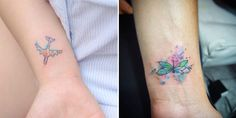 These tiny tats are the perfect way to ad a splash of color to your skin. #Tattoos #tinyTattoos #WatercolorTattoos