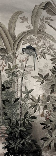 Detail of a grisaille wallpaper.