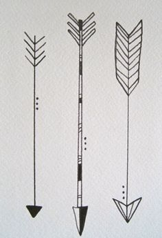 """Three Little Arrows in Black and White, 5""""x7"""". Watercolor Illustration Pen on Watercolor Paper.www.etsy.com/shop/kateykpaintandclay"""