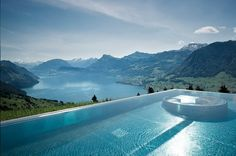 The gorgeous infinity pool at the spa of the Hotel Villa Honegg outside Lucerne, Switzerland. By Hotelied.