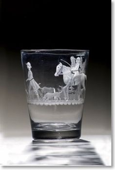 Engraved Tumbler from the Beilby workshop in Newcastle Glass Museum, Country Lifestyle, Crystal Stemware, Drinking Glass, Antique China, Reindeer, Shot Glass, Glass Art, Old Things