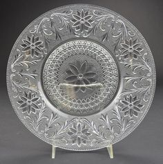 "Indiana Glass - Sandwich Clear Pattern - Dinner Plate - 10.375"" Round"