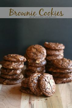 Brownie Cookies from JensFavoriteCookies.com  -  these fudgy cookies have all the flavor of a brownie, but in convenient cookie form!