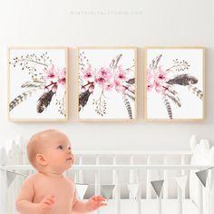 Flower Wall Decor – Cherry Blossom Watercolor Art for Bedroom Wall Decor Set of 3 Printable Art Sakura Flower Art for Baby Girl Nursery