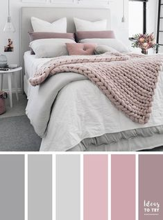 Bedroom colour palette - would look stunning with some gold accents! The perfect bedroom color palette! Bedroom ideas interior design bedroom makeover bedroom inspiration pretty bedding bedroom accessories home Pale Pink Bedrooms, Mauve Bedroom, Mauve Bedding, Bedding Sets, Mauve Living Room, Mauve Walls, Grey Duvet, Bedroom Neutral, Yellow Walls