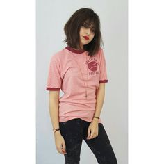 70s Vintage Pink Ringer Tee  Medium Large Red by TheCosmicCircle