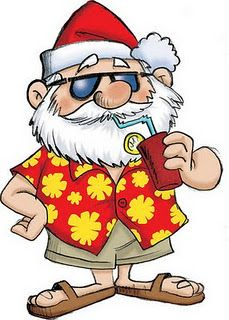 Santa on vacation after Christmas. Aussie Christmas, Summer Christmas, Tropical Christmas, Merry Christmas, Coastal Christmas, Christmas Clipart, Christmas In July, Christmas Images, Christmas Printables