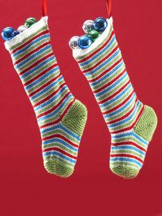 Jolly Striped Stockings | Yarn | Knitting Patterns | Crochet Patterns | Yarnspirations