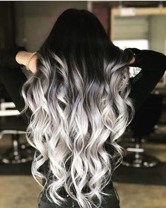 ▷ 1001 + ombre hair ideas for a cool and fun summer look - long wavy hair, black to platinum blonde, ash blonde ombre, black top - Cute Hair Colors, Pretty Hair Color, Beautiful Hair Color, Hair Dye Colors, Ombre Hair Color, Hair Color For Black Hair, Ombre Hair Dye, Pastel Ombre Hair, Fun Hair Color