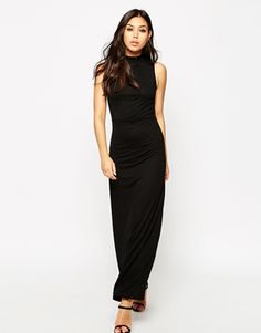 ASOS Column Maxi Dress With High Neck