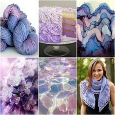 Sources: TFA Orange Label Cashmere/Silk Worsted weight inLilac,cake,paper art,lilacs,water reflection,Lilia's French Cancan.
