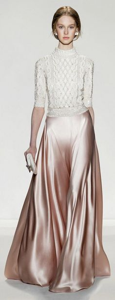 Knits and liquid metallic satin // Jenny Packham