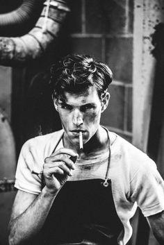 Kent Brushes on Behance, black and white photography, smoking, apron, pretty boy, white t-shirt, cigarette