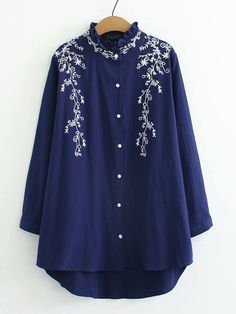 Enjoy exclusive for Mordenmiss Women's Embroidery Blouses Full Bottom Down Hi Low Hem Shirt Tops online - Yourfavoriteclothing Embroidery Fashion, Vintage Embroidery, Embroidery Blouses, Embroidery Patterns, Plus Size Shirts, Plus Size Blouses, Pakistani Fashion Casual, Stylish Dresses For Girls, Blouses For Women
