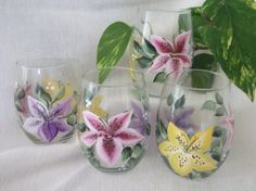 Iris Hand Paintedon a Water Goblet by SusanRuthCreations on Etsy