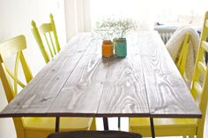 How to: Zelf eettafel maken (+/- 3 uren ) Planken + lak + IKEA schragen.   www.acupoflife.nl