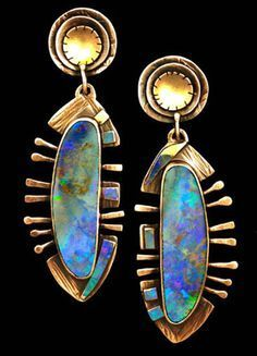 Modern Jewelry 22k Gold and Opal Earrings
