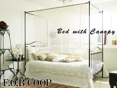 【F.O.B COOP】 オリジナル アイアン シングルベッドBLACK (天蓋付)