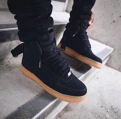 Trendy Men's Sneakers : black suede high top Air Force one. Trendy Men's Sneakers : black suede high top Air Force one Nike Free Shoes, Nike Shoes Outlet, Nike Free Outfit, Sneakers Mode, Sneakers Fashion, Fashion Shoes, Fashion Outfits, Dark Fashion, Cute Shoes